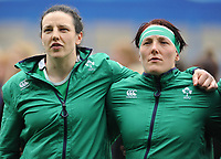 Ireland's Paula Fitzpatrick and Lindsay Peat during the national anthems<br /> <br /> Photographer Ian Cook/CameraSport<br /> <br /> Women's Six Nations Round 4 - Wales Women v Ireland Women - Saturday 11th March 2017 - Cardiff Arms Park - Cardiff<br /> <br /> World Copyright &copy; 2017 CameraSport. All rights reserved. 43 Linden Ave. Countesthorpe. Leicester. England. LE8 5PG - Tel: +44 (0) 116 277 4147 - admin@camerasport.com - www.camerasport.com
