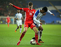 (L-R) David Brooks of Wales challenged by Luis Ovalle of Panama during the international friendly soccer match between Wales and Panama at Cardiff City Stadium, Cardiff, Wales, UK. Tuesday 14 November 2017.