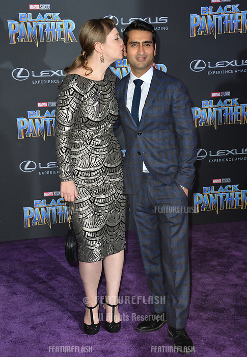 """Emily V. Gordon & Kumail Nanjiani at the world premiere for """"Black Panther"""" at the Dolby Theatre, Hollywood, USA 29 Jan. 2018<br /> Picture: Paul Smith/Featureflash/SilverHub 0208 004 5359 sales@silverhubmedia.com"""