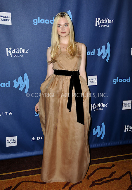 WWW.ACEPIXS.COM......April 20, 2013, Los Angeles, CA.....Elle Fanning arriving at the 24th Annual GLAAD Media Awards held at the JW Marriott Los Angeles at L.A. LIVE on April 20, 2013 in Los Angeles, California. ..........By Line: Peter West/ACE Pictures....ACE Pictures, Inc..Tel: 646 769 0430..Email: info@acepixs.com