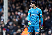 17th March 2019, Craven Cottage, London, England; EPL Premier League football, Fulham versus Liverpool; Sergio Rico of Fulham looks back at play