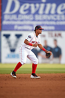 Salem Red Sox shortstop Santiago Espinal (5) during a game against the Lynchburg Hillcats on May 10, 2018 at Haley Toyota Field in Salem, Virginia.  Lynchburg defeated Salem 11-5.  (Mike Janes/Four Seam Images)