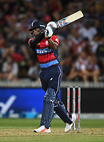 Chris Jordan hits a  off the last ball of the innings.<br /> New Zealand Black Caps v England.Tri-Series International Twenty20 cricket. Eden Park, Auckland, New Zealand. Sunday 18 February 2018. &copy; Copyright Photo: Andrew Cornaga / www.Photosport.nz