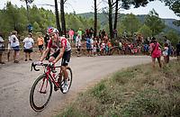 Tosh Van der Sande (BEL/Lotto-Soudal) sharing his 'feelings' up the steepest part of the brutal Mas de la Costa: the final climb towards the finish<br /> <br /> Stage 7: Onda to Mas de la Costa (183km)<br /> La Vuelta 2019<br /> <br /> ©kramon