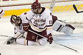 Joe Woll (BC - 31), David Cotton (BC - 17) - The Boston College Eagles defeated the visiting UConn Huskies 2-1 on Tuesday, January 24, 2017, at Kelley Rink in Conte Forum in Chestnut Hill, Massachusetts.