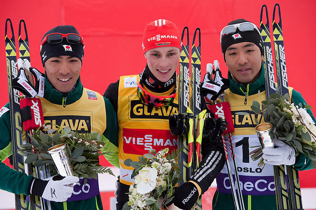 HOLMENKOLLEN, OSLO, NORWAY - March 15: Winners podium of the FIS Nordic Combined World Cup on March 15, 2013 in Oslo, Norway. (C) 1st place Eric Frenzel of Germany (GER), (L) 2nd place Akito Watabe of Japan (JPN) and (R) 3rd place Yoshito Watabe of Japan (JPN). (Photo by Dirk Markgraf)