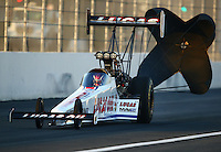 Feb 13, 2016; Pomona, CA, USA; NHRA top fuel driver Richie Crampton during qualifying for the Winternationals at Auto Club Raceway at Pomona. Mandatory Credit: Mark J. Rebilas-USA TODAY Sports