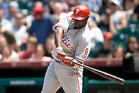 Philadelphia Phillies 1B Ryan Howard against the Houston Astros on Sunday April 11th, 2010 at Minute Maid Park in Houston, Texas.  (Photo by Andrew Woolley / Four Seam Images)
