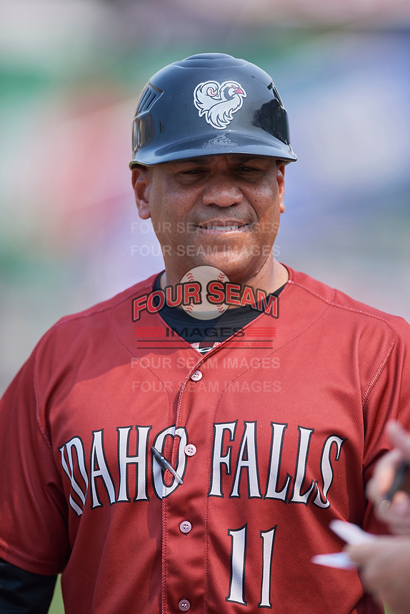 Idaho Falls Chukars manager Omar Ramirez (11) before the game against the Ogden Raptors at Lindquist Field on July 29, 2018 in Ogden, Utah. The Raptors defeated the Chukars 20-19. (Stephen Smith/Four Seam Images)