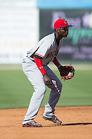 Hickory Crawdads shortstop Michael De Leon (1) on defense against the Kannapolis Intimidators at CMC-Northeast Stadium on May 21, 2015 in Kannapolis, North Carolina.  The Intimidators defeated the Crawdads 2-0 in game one of a double-header.  (Brian Westerholt/Four Seam Images)