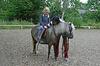 Shetland-Pony, Shetlandpony, Shetty, Shetti, Ponyhof, Shetland - Pony wird eingeritten, Kind, Mädchen sitzt im Sattel, Reitlehrerin hilft, Reiten
