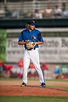 Missoula Osprey relief pitcher Jake Polancic (30) gets ready to deliver a pitch during a Pioneer League game against the Orem Owlz at Ogren Park Allegiance Field on August 19, 2018 in Missoula, Montana. The Missoula Osprey defeated the Orem Owlz by a score of 8-0. (Zachary Lucy/Four Seam Images)