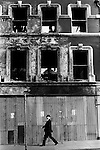 Derry Northern Ireland Londonderry. 1979. Burnt out building city center. 1979