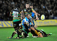 Aviva Premiership. Northampton, England. Lee Thomas of London Wasps clears the ball during the Aviva Premiership match between Northampton Saints and London Wasps at Franklin's Gardens on September 28. 2012 in Northampton, England.