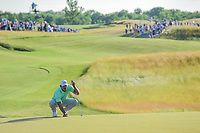 Brooks Koepka (USA) lines up his putt on 18 during Sunday's round 4 of the 117th U.S. Open, at Erin Hills, Erin, Wisconsin. 6/18/2017.<br /> Picture: Golffile | Ken Murray<br /> <br /> <br /> All photo usage must carry mandatory copyright credit (&copy; Golffile | Ken Murray)