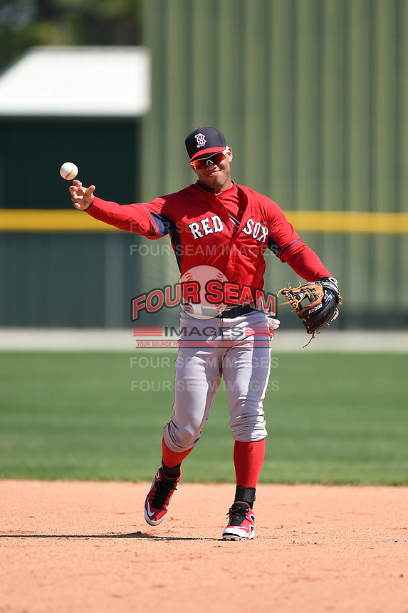 Boston Red Sox second baseman Yoan Moncada (22) during practice before a minor league spring training game against the Baltimore Orioles on March 20, 2015 at Buck O'Neil Complex in Sarasota, Florida.  (Mike Janes/Four Seam Images)