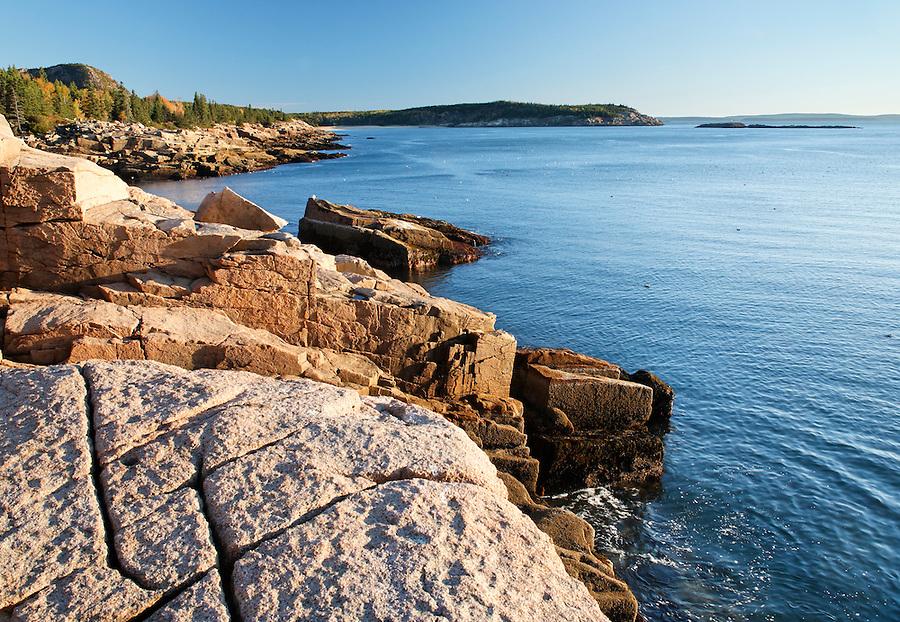 Rocky shoreline, Frenchman Bay, Mount Desert Island, Acadia National Park, Hancock County, Maine, USA