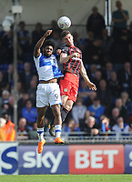 Bristol Rovers' Ellis Harrison vies for possession with Blackburn Rovers' Darragh Lenihan<br /> <br /> Photographer Ashley Crowden/CameraSport<br /> <br /> The EFL Sky Bet League One - Bristol Rovers v Blackburn Rovers - Saturday 14th April 2018 - Memorial Stadium - Bristol<br /> <br /> World Copyright &copy; 2018 CameraSport. All rights reserved. 43 Linden Ave. Countesthorpe. Leicester. England. LE8 5PG - Tel: +44 (0) 116 277 4147 - admin@camerasport.com - www.camerasport.com