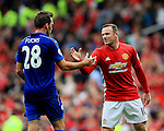 Wayne Rooney of Manchester United shakes hands with Christian Fuchs of Leicester City during the Premier League match at Old Trafford Stadium, Manchester. Picture date: September 24th, 2016. Pic Sportimage