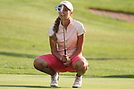 Kathleen Ekey reacts after missing her putt on the 10th hole at the Alliance Bank Golf Classic in Syracuse NY.