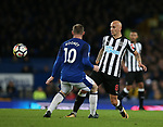 Jonjo Shelvey of Newcastle United and Wayne Rooney of Everton during the premier league match at Goodison Park Stadium, Liverpool. Picture date 23rd April 2018. Picture credit should read: Simon Bellis/Sportimage