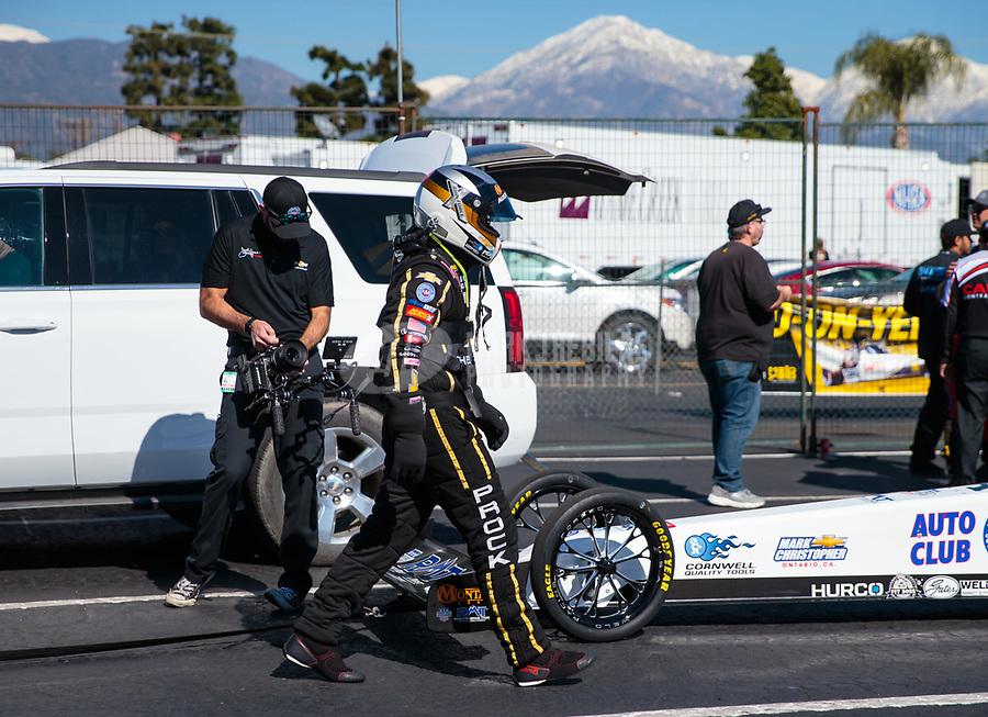 Feb 8, 2019; Pomona, CA, USA; NHRA top fuel driver Austin Prock during qualifying for the Winternationals at Auto Club Raceway at Pomona. Mandatory Credit: Mark J. Rebilas-USA TODAY Sports