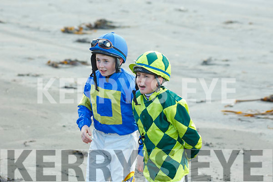 Young jockeys ready for the race at the Ballyheigue Races on Wednesday last.