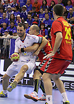 13.01.2013 Granollers, Spain. IHF men's world championship, prelimanary round. Picture show Jerome Fernandez   in action during game between France vs Montenegro at Palau d'esports de Granollers