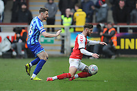 Fleetwood Town's Wes Burns is fouled by Blackpool's James Husband<br /> <br /> Photographer Kevin Barnes/CameraSport<br /> <br /> The EFL Sky Bet League One - Fleetwood Town v Blackpool - Saturday 7th March 2020 - Highbury Stadium - Fleetwood<br /> <br /> World Copyright © 2020 CameraSport. All rights reserved. 43 Linden Ave. Countesthorpe. Leicester. England. LE8 5PG - Tel: +44 (0) 116 277 4147 - admin@camerasport.com - www.camerasport.com