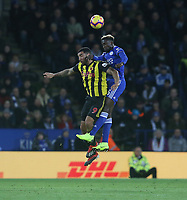 Leicester City's Wilfred Ndidi and Watford's Troy Deeney <br /> <br /> Photographer Stephen White/CameraSport<br /> <br /> The Premier League - Leicester City v Watford - Saturday 1st December 2018 - King Power Stadium - Leicester<br /> <br /> World Copyright © 2018 CameraSport. All rights reserved. 43 Linden Ave. Countesthorpe. Leicester. England. LE8 5PG - Tel: +44 (0) 116 277 4147 - admin@camerasport.com - www.camerasport.com