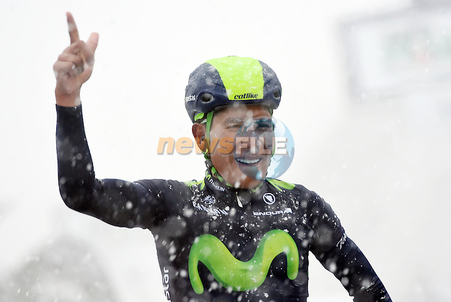 Nairo Quintana (COL) Movistar Team wins Stage 5 on a snowy summit of Terminillo after 197km, of the 2015 Tirreno-Adriatico cycle race, Italy. 15th March 2015. <br /> Photo: ANSA/Daniel Dal Zennaro/www.newsfile.ie