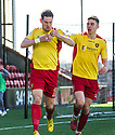 Albion's John Gemmell (left) celebrates after he scores their second goal.