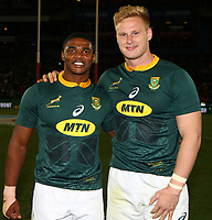 Warrick Gelant of South Africa with Jean-Luc du Preez of South Africa during the 2018 Castle Lager Incoming Series 1st Test match between South Africa and England at Emirates Airline Park,<br /> Johannesburg.South Africa. 09,06,2018 Photo by (Steve Haag Sports)