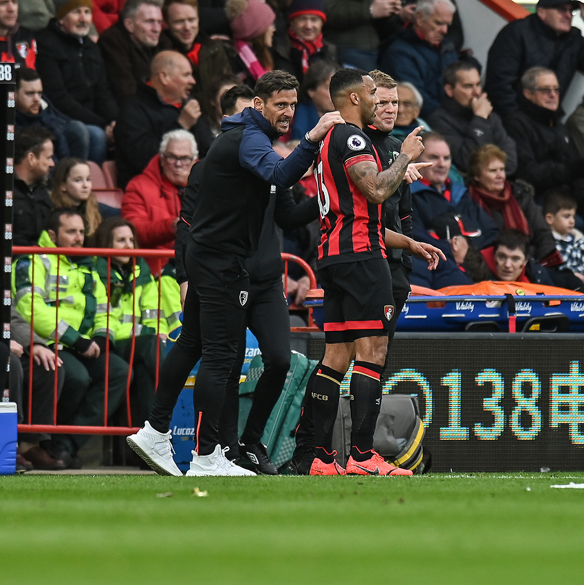 Bournemouth manager Eddie Howe (right) and assistant manager Jason Tindall (left) gives instructions to Bournemouth's Callum Wilson (centre)<br /> <br /> Photographer David Horton/CameraSport<br /> <br /> The Premier League - Bournemouth v Newcastle United - Saturday 16th March 2019 - Vitality Stadium - Bournemouth<br /> <br /> World Copyright © 2019 CameraSport. All rights reserved. 43 Linden Ave. Countesthorpe. Leicester. England. LE8 5PG - Tel: +44 (0) 116 277 4147 - admin@camerasport.com - www.camerasport.com