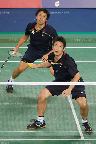 (L to R) Hiroyuki Endo, Kenichi Hayakawa (JPN), <br /> SEPTEMBER 21, 2014 - Badminton : <br /> Men's Team Round 2 <br /> at Gyeyang Gymnasium <br /> during the 2014 Incheon Asian Games in Incheon, South Korea. <br /> (Photo by AFLO SPORT) [1180]