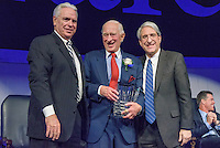 Yale President Peter Salovey and Athletics Director Thomas A. Beckett presenting Jim Goodale '55. Yale Athletics Blue Leadership Ball & George H.W. Bush '48 Lifetime of Leadership Awards. 20 November 2015 at the William K. Lanman Center, Payne Whitney Gymnasium, Yale University.