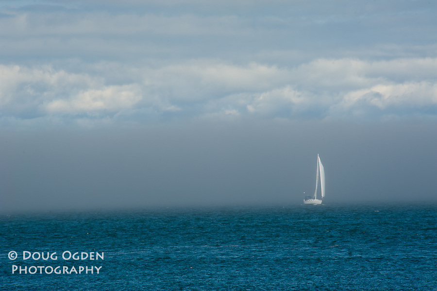 Sail Boat and fog in San Francisco Bay