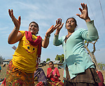 Women dance during the gathering of an emotional support group in Makaising, a village in the Gorkha District of Nepal that was hard hit by a devastating 2015 earthquake.