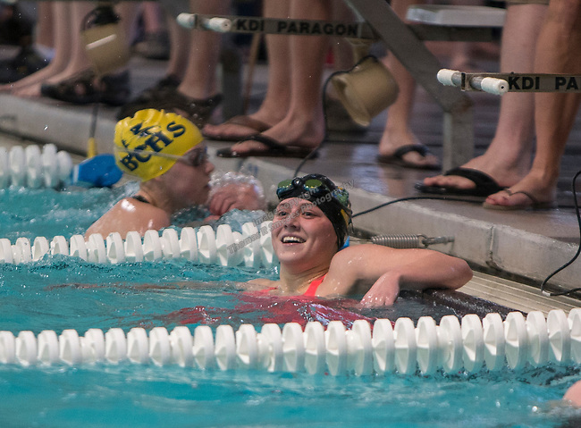 Incline's Kate Rye smiles after winning the girls 3A 100 yard freestyle race during the State Swimming Meet in Carson City on Saturday, May 20, 2017.