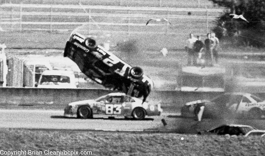 Rusty Wallace (2) tumbles off of turn 2 during  the Daytona 500, Daytona International Speedway, Daytona Beach, FL, February 14, 1993.  (Photo by Brian Cleary/www.bcpix.com)