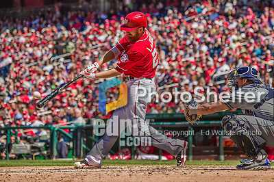 27 April 2014: Washington Nationals first baseman Adam LaRoche at bat against the San Diego Padres at Nationals Park in Washington, DC. The Padres defeated the Nationals 4-2 to to split their 4-game series. Mandatory Credit: Ed Wolfstein Photo *** RAW (NEF) Image File Available ***