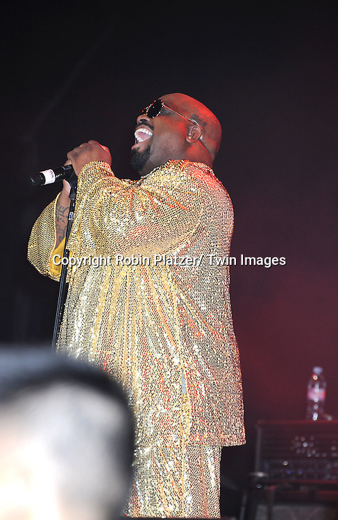 "Cee Lo Green singing at The ""DIRECTV Old School Challenge Presented by ESP"" on August 25, 2011 at The Lexington Avenue Armory in New York City. Tennis Legends Ivan Lendl played Pete Sampras and The Jensen and the Bryan Brothers played each other in doubles. Cee Lo Green performed afterwards."