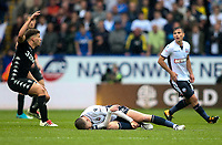 Bolton Wanderers' Josh Vela lies prone after sustaining an injury<br /> <br /> Photographer Andrew Kearns/CameraSport<br /> <br /> The EFL Sky Bet Championship - Bolton Wanderers v Leeds United - Sunday 6th August 2017 - Macron Stadium - Bolton<br /> <br /> World Copyright &copy; 2017 CameraSport. All rights reserved. 43 Linden Ave. Countesthorpe. Leicester. England. LE8 5PG - Tel: +44 (0) 116 277 4147 - admin@camerasport.com - www.camerasport.com