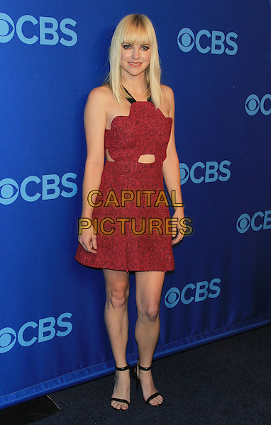 Anna Faris.The CBS Upfront 2013 Party at Lincoln Center, New York, NY., USA..May 15th, 2013.full length red sleeveless dress cut out away.CAP/LNC/TOM.©LNC/Capital Pictures.