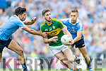Paul Geaney Kerry in action against Cian O'Sullivan and Jonny Cooper Dublin in the All Ireland Senior Football Semi Final at Croke Park on Sunday.