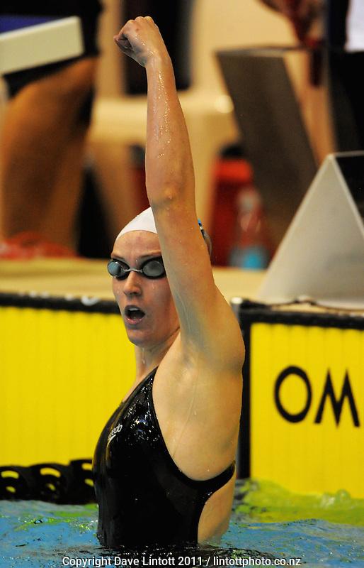 Sophia Batchelor celebrates winning the 15yo Girls 50m freestyle final. New Zealand Age Group Swimming Championships day five at Welllington Aquatics Centre, Kilbirnie, Wellington, New Zealand on Saturday, 5 March 2011. Photo: Dave Lintott / lintottphoto.co.nz