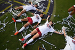 ORLANDO, FL - DECEMBER 03: Stanford University celebrates their victory over UCLA during the Division I Women's Soccer Championship held at Orlando City SC Stadium on December 3, 2017 in Orlando, Florida. Stanford defeated UCLA 3-2 for the national title. (Photo by Jamie Schwaberow/NCAA Photos via Getty Images)