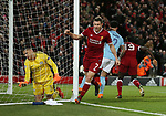 Ederson of Manchester City dejected after Sadio Mane of Liverpool (r) scores the third goal during the Champions League Quarter Final 1st Leg, match at Anfield Stadium, Liverpool. Picture date: 4th April 2018. Picture credit should read: Simon Bellis/Sportimage