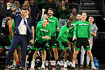 SIOUX FALLS, SD - MARCH 8: The North Dakota Fighting Hawks bench celebrates their 74-71 win over the South Dakota Coyotes at the 2020 Summit League Basketball Championship in Sioux Falls, SD. (Photo by Dave Eggen/Inertia)