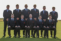 The GB&I Walker Cup Team 2019. During the Walker Cup, Royal Liverpool Golf CLub, Hoylake, Cheshire, England. 06/09/2019.<br /> <br /> Back Row: Thomas Sloman, James Sugrue, Thomas Plumb, Harry Hall, Ewan Walker and Sandy Scott.<br /> Front: Caolan Rafferty, Conor Purcell, Craig Watson (Team Captain), Alex Fitzpatrick and Conor Gough.<br /> <br /> Picture Thos Caffrey / Golffile.ie<br /> <br /> All photo usage must carry mandatory copyright credit (© Golffile | Thos Caffrey)